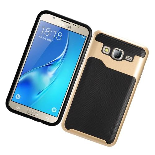 Insten Slim Hard TPU Case For Samsung Galaxy On5, Gold/Black