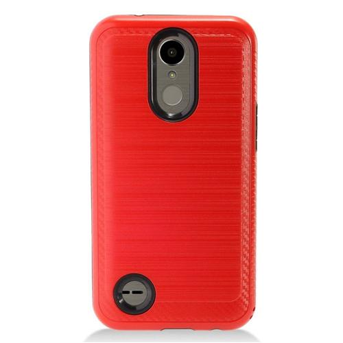 Insten Chrome Brushed Hard Case For LG K10 (2017)/K20 Plus/K20 V, Red/Black