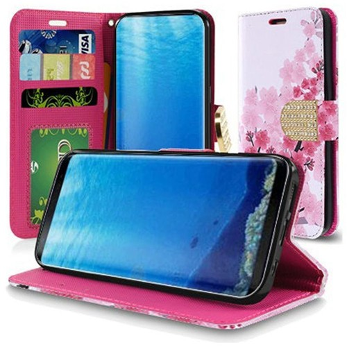 Insten Sakura Cherry Blossom Leather Fabric Case w/stand/card holder For Samsung Galaxy S8, Pink