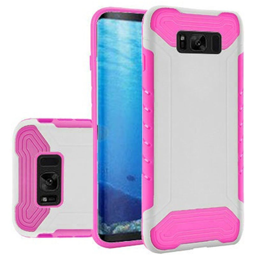 Insten Slim Armor Hard Dual Layer Plastic TPU Cover Case For Samsung Galaxy S8, White/Hot Pink