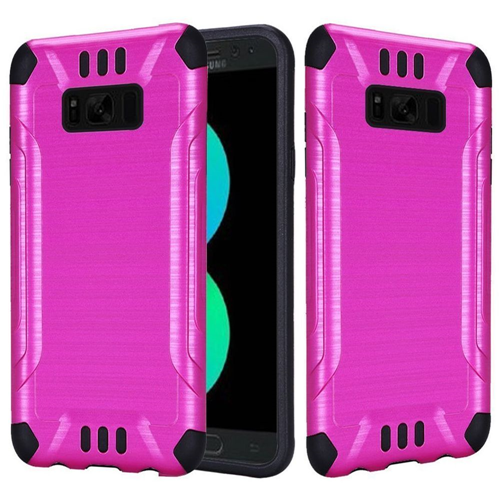 Insten Hard Dual Layer Brushed TPU Case For Samsung Galaxy S8 Plus, Hot Pink/Black