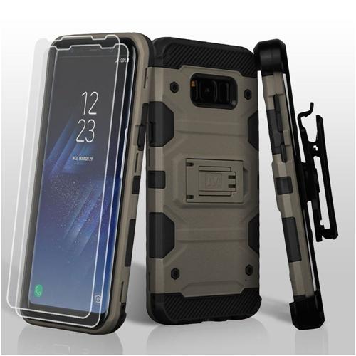 Insten Tank Hard Hybrid Case Lanyard w/stand/Bundled For Samsung Galaxy S8, Dark Gray/Black