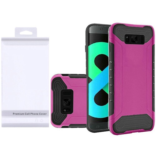 Insten Slim Armor Hard Dual Layer Plastic TPU Cover Case For Samsung Galaxy S8 Plus, Hot Pink/Black
