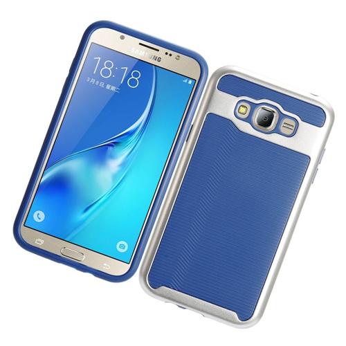 Insten Slim Hard TPU Cover Case For Samsung Galaxy J7 (2015), Blue/Silver
