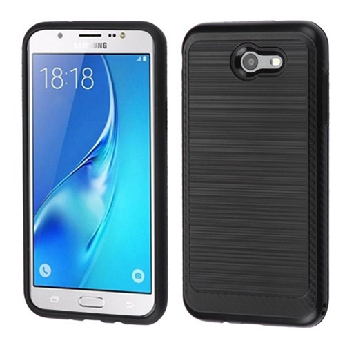 Insten Hard Dual Layer Brushed TPU Case For Samsung Galaxy J7 (2017)/J7 Perx/J7 Sky Pro/J7 V, Black