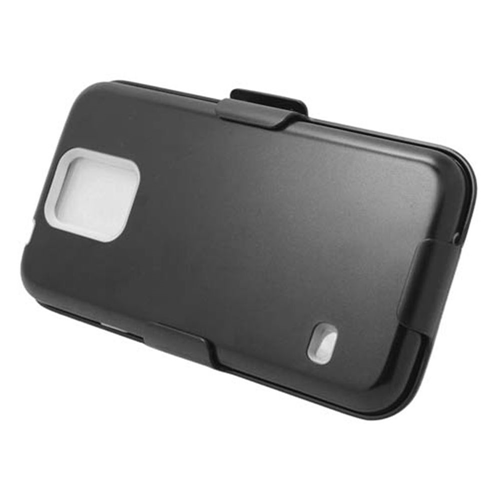 Insten Hard Plastic Silicone Case w/Holster For Samsung Galaxy S5, Black/White