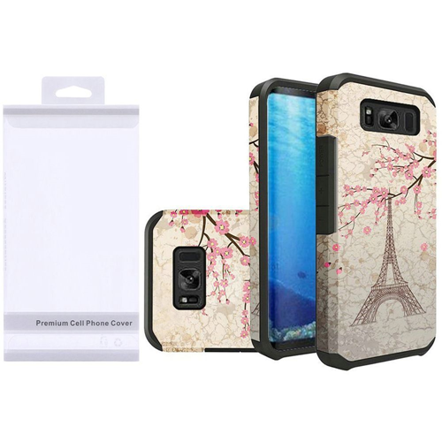 Insten Vintage Eiffel Tower Hard Dual Layer Rubberized Case For Samsung Galaxy S8, Multi-Color