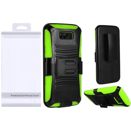 Insten Symbiosis Hard Hybrid Plastic Case w/stand For Samsung Galaxy S8 Plus, Black/Neon Green