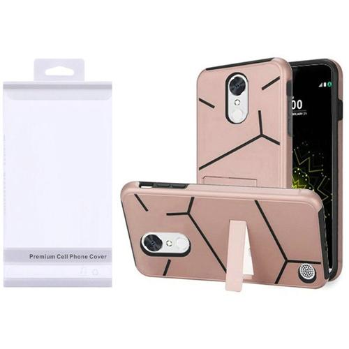 Insten Hard Plastic TPU Case w/stand For LG Grace 4G/Harmony/K20 Plus/K20 V, Rose Gold/Black