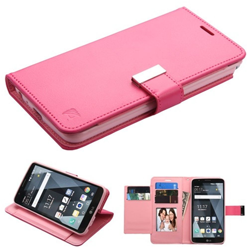Insten Book-Style Leather Fabric Case w/stand/card holder/Photo Display For LG Stylo 3, Hot Pink
