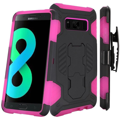 Insten SuperCoil Hard Plastic Case w/stand/Holster For Samsung Galaxy S8 Plus, Black/Hot Pink