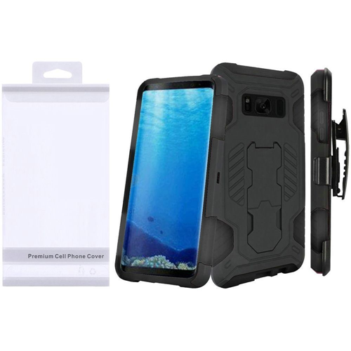 Insten SuperCoil Hard Hybrid Plastic Case w/stand/Holster For Samsung Galaxy S8, Black