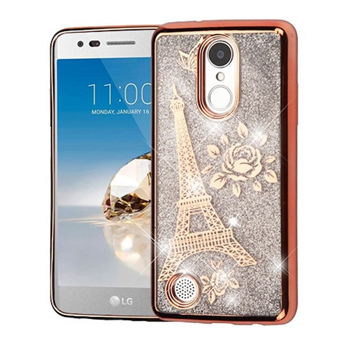 Insten Quicksand Eiffel Tower Hard Case For LG Fortune/K4 (2017)/K8 (2017)/LV3/Phoenix 3, Rose Gold