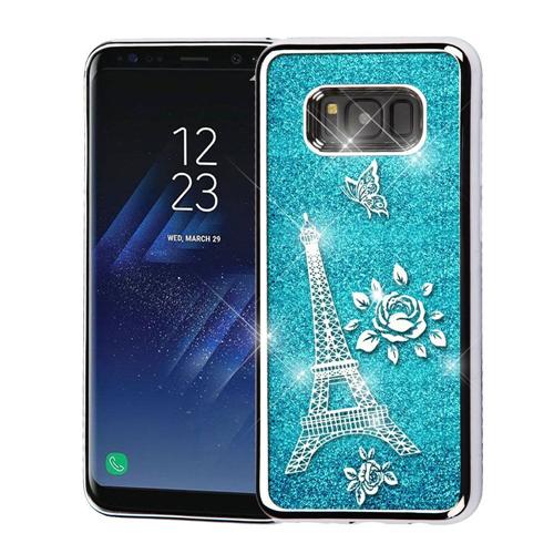 Insten Quicksand Eiffel Tower Hard Plastic Chrome Case For Samsung Galaxy S8 Plus, Blue/Silver