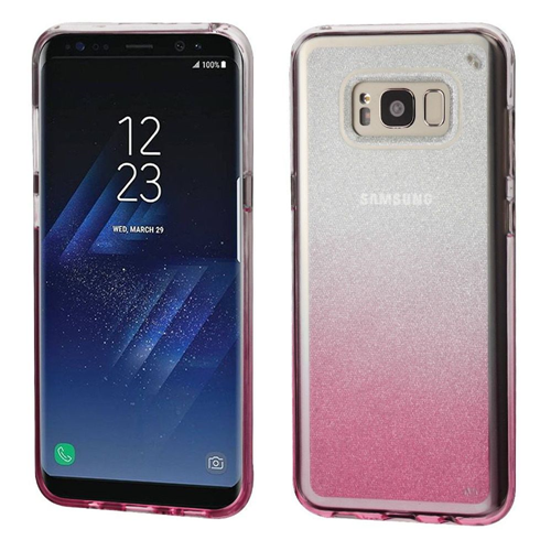 Insten Gradient Glitter Rubber Clear Case For Samsung Galaxy S8 Plus, Pink