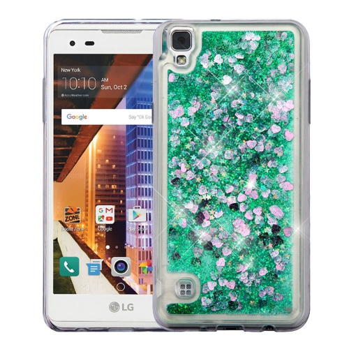 Insten Quicksand Hearts Hard Plastic TPU Cover Case For LG Tribute HD, Green