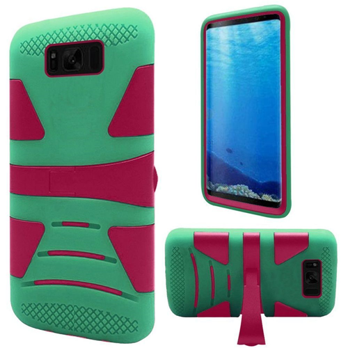 Insten Hard Hybrid Plastic TPU Case w/stand For Samsung Galaxy S8, Hot Pink/Teal