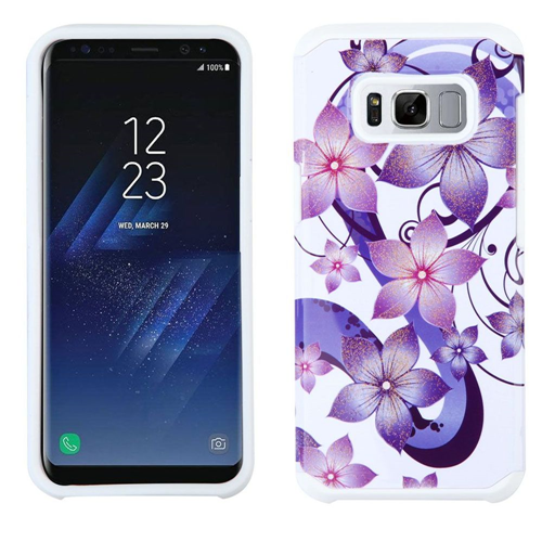 Insten Armor Hibiscus Flower Romance Hard Dual Layer TPU Case For Samsung Galaxy S8, White/Purple