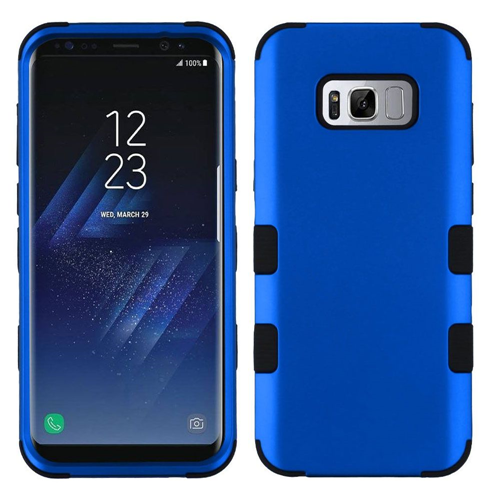 Insten Tuff Hard Dual Layer Metallic TPU Cover Case For Samsung Galaxy S8, Blue/Black