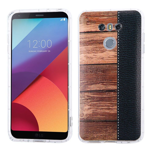 Insten Wood Grain Hard Fabric TPU Case For LG G6, Brown/Black