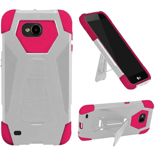 Insten T-Stand Hard Hybrid Rubber Coated Silicone Case w/stand For LG X Venture, White/Hot Pink