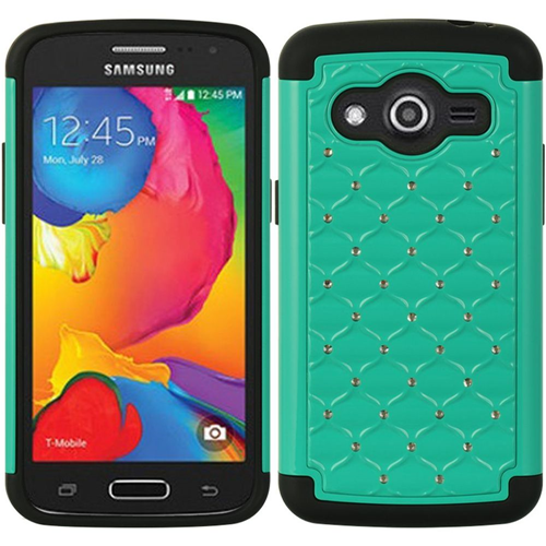 Insten Hard Hybrid Rubberized Silicone Cover Case w/Diamond For Samsung Galaxy Avant, Green/Black