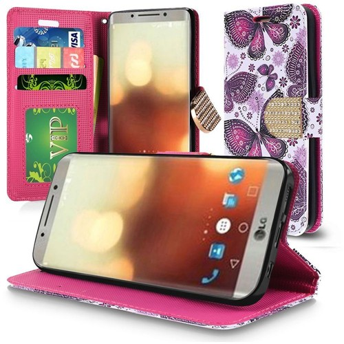 Insten Butterflies Book-Style Leather Fabric Case Lanyard w/stand/Diamond For LG G6, Multi-Color