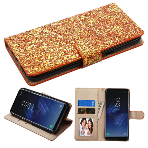 Insten Hexagon Flakes Glitter Case w/stand/card holder/Photo Display For Samsung Galaxy S8, Gold