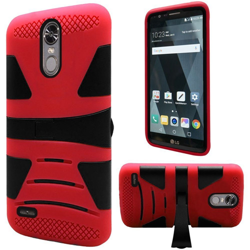 Insten Hard Hybrid TPU Cover Case w/stand For LG Stylo 3, Red/Black