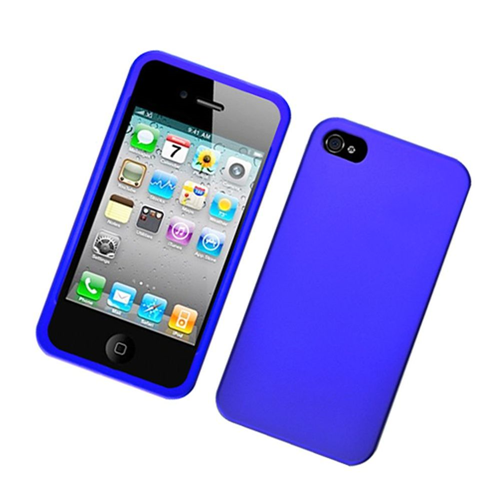 Insten Hard Rubber Coated Case For Apple iPhone 4/4S, Blue