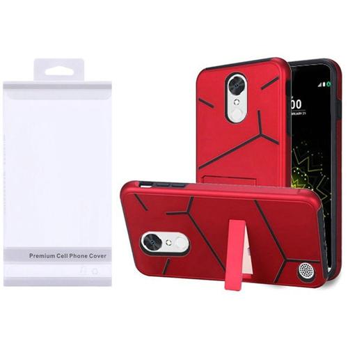 Insten Hard Dual Layer Plastic TPU Case w/stand For LG Grace 4G/Harmony/K20 Plus/K20 V, Red/Black