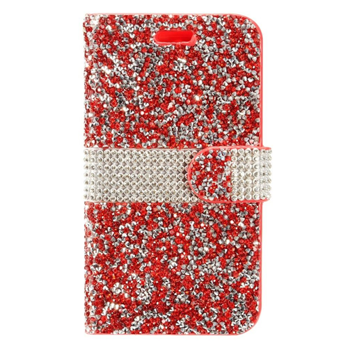 Insten Book-Style Leather Rhinestone Case w/card slot For LG Stylo 3, Red/Silver