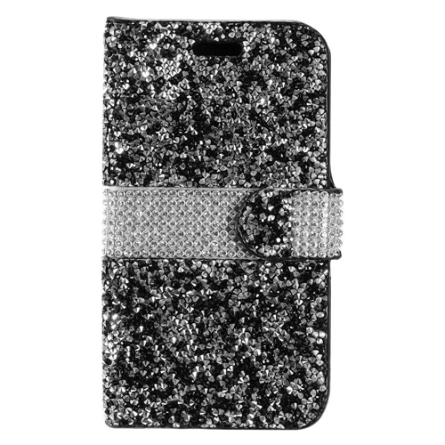 Insten Leather Diamond Case w/card holder For Samsung Galaxy Amp Prime 2/J3 (2017), Black/Silver
