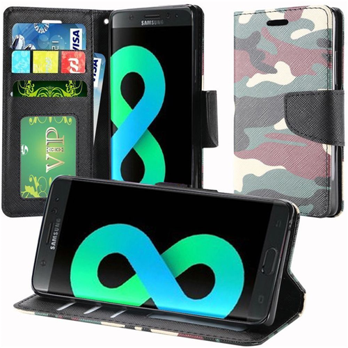 Insten Camouflage Leather Fabric Case w/stand/card holder For Samsung Galaxy S8 Plus, Green