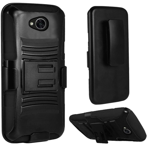 Insten Hard Rubber Coated Case w/stand For LG Fiesta LTE/K10 Power/X Charge/X Power 2, Black