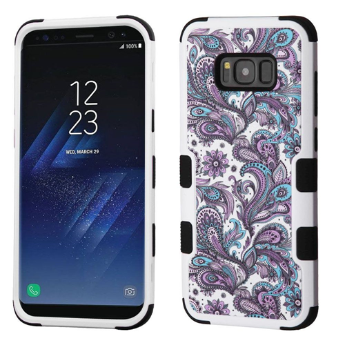 Insten Tuff European Flowers Hard Dual Layer Plastic TPU Cover Case For Samsung Galaxy S8, Purple