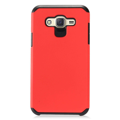 Insten Hard Dual Layer Rubber Coated Case For Samsung Galaxy J7 (2015), Red/Black