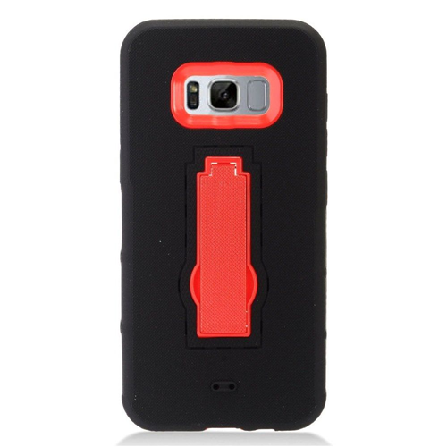 Insten Symbiosis Gel Rubber Hard Cover Case w/stand For Samsung Galaxy S8, Black/Red