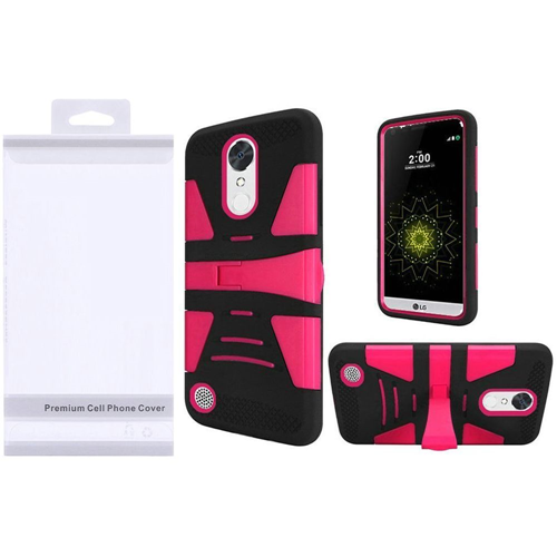 Insten Hard Plastic Silicone Case w/stand For LG Grace 4G/Harmony/K20 Plus/K20 V, Hot Pink/Black