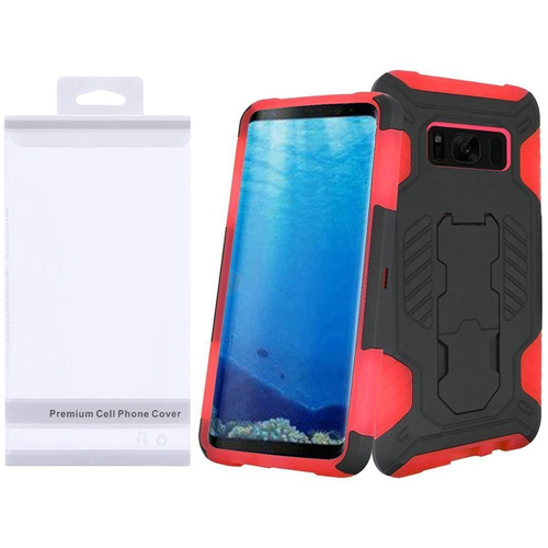 Insten SuperCoil Hard Hybrid Plastic Cover Case w/stand For Samsung Galaxy S8, Black/Red