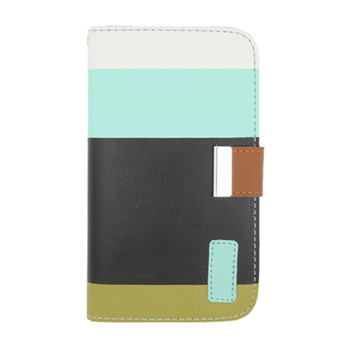 Insten Multicolor Flip Leather Fabric Case w/card holder For Samsung Galaxy Note 3, Black/Green