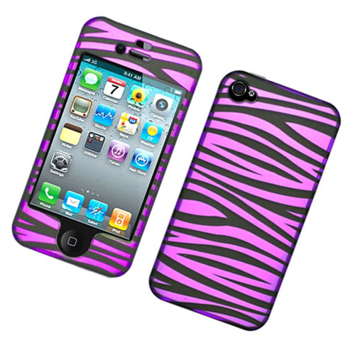 Insten Zebra Hard Plastic Cover Case For Apple iPhone 4/4S, Hot Pink/Black