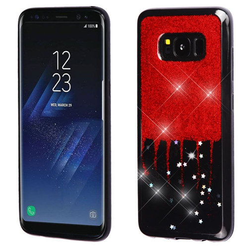 Insten Glitter Stars Rubber Case For Samsung Galaxy S8, Red/Black
