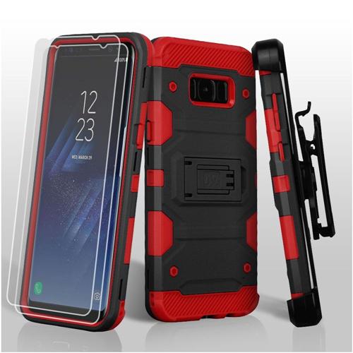 Insten Tank Hard Plastic TPU Case Lanyard w/stand/Bundled For Samsung Galaxy S8 Plus, Black/Red