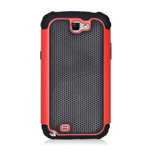 Insten Armor Vision Hard Rubber Coated Silicone Case For Samsung Galaxy Note II, Black/Red