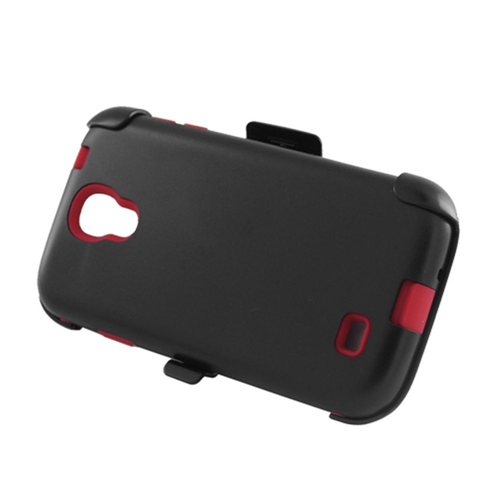 Insten Hard Plastic Silicone Case w/Holster For Samsung Galaxy S4, Black/Red