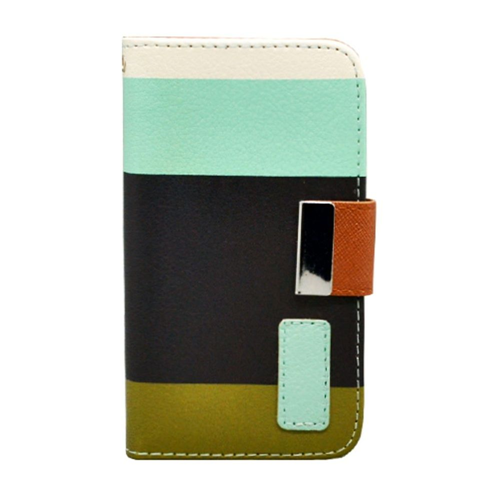 Insten Multicolor Folio Leather Fabric Case w/card slot For Apple iPhone 4/4S, Black/Green