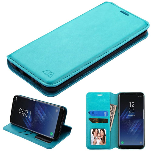 Insten Folio Leather Fabric Case w/stand/card holder/Photo Display For Samsung Galaxy S8, Blue