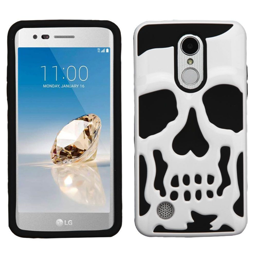 Insten Skullcap Hard Hybrid Case For LG Fortune/K4 (2017)/K8 (2017)/LV3/Phoenix 3, White/Black