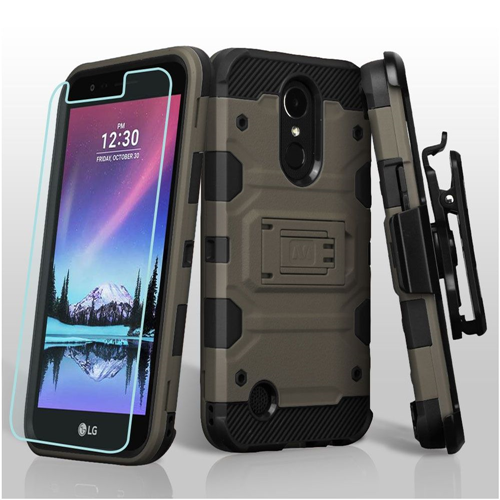 Insten Tank Hard TPU Case w/stand/Holster For LG Harmony/K10 (2017)/K20 Plus/K20 V, Dark Gray/Black
